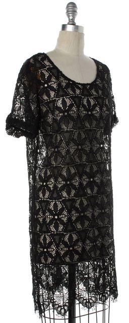 FRAME DENIM Black Lace Shift Dress