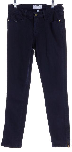 FRAME Navy Blue Le Skinny de Jeannie Crop Ankle Zip Skinny Jeans
