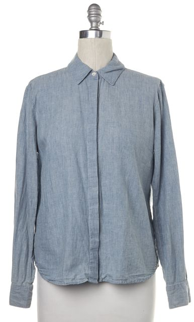 FRAME Blue Linen Button Down Shirt Top