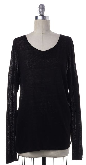 FRAME Black Linen Semi-Sheer Long Sleeve Top