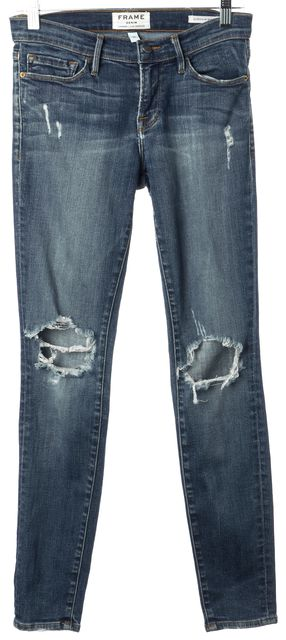 FRAME Blue Walgrove Distressed Mid-Rise Stretch Cotton Skinny Jeans