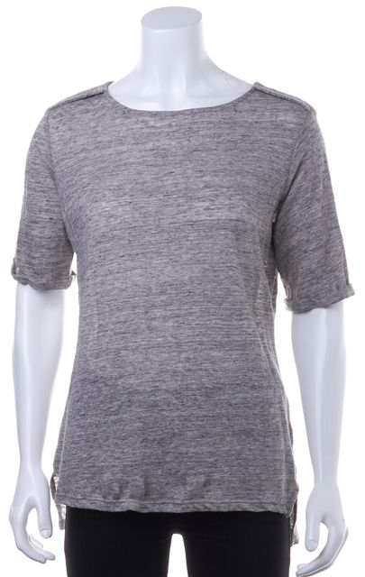 FRAME Gray Linen Crewneck Basic T-Shirt