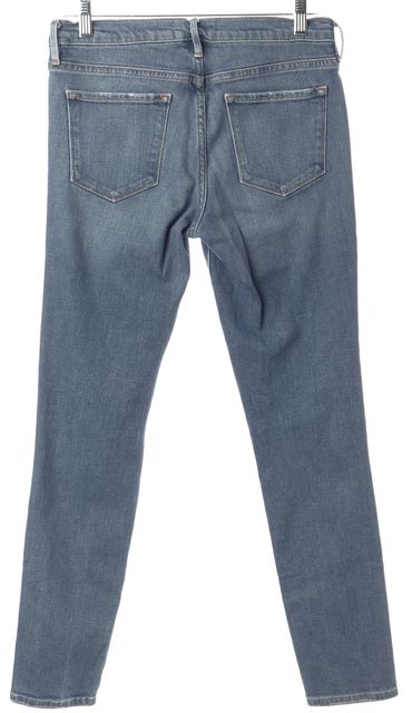 FRAME Blue Le Skinny De Jeanne Crop Slim Fit Casual Skinny Capri Jeans