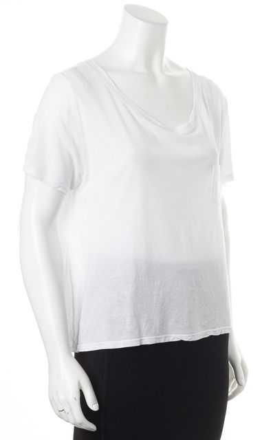 FRAME White Scoop Neck Short Sleeve Basic T-Shirt