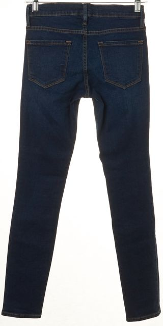 FRAME Blue Columbia Road Mid-Rise Stretch Cotton Skinny Jeans