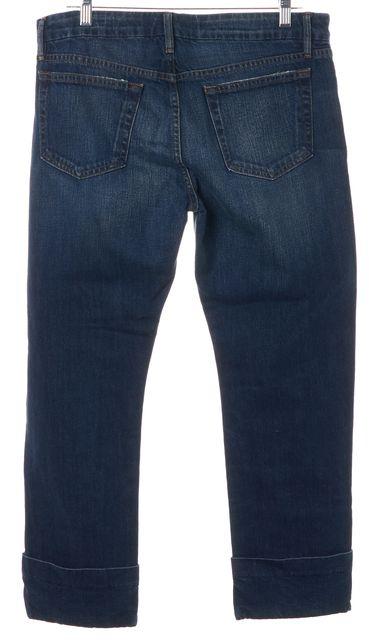 FRAME Blue Novello Cuffed Cropped Le Grand Garcon Boyfriend Jeans