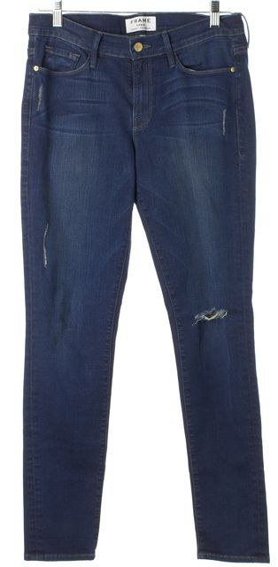 FRAME Blue Runyon Canyon Distressed Stretch Cotton Skinny Jeans