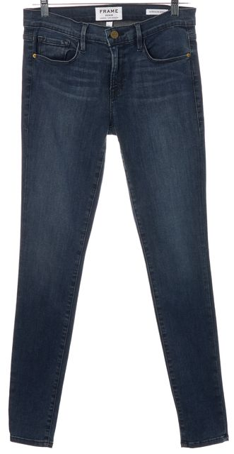 FRAME Blue Medium Wash Stretch Cotton Mid-Rise Skinny Jeans