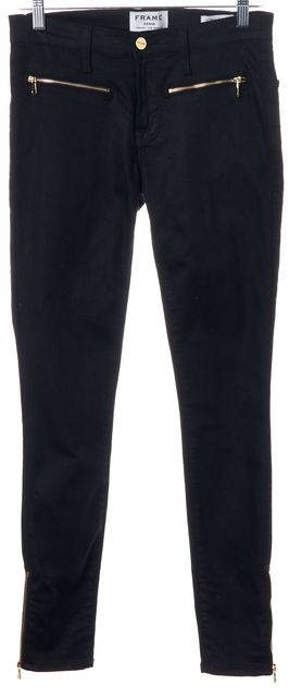 FRAME Black Onyx Ankle Zip Stretch Cotton Mid-Rise Skinny Jeans