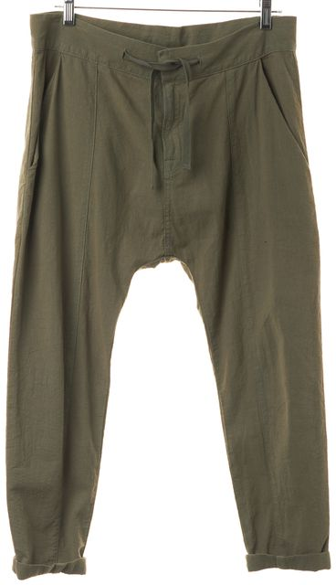 FRAME Olive Green Le Panel Cropped Harem Casual Pants