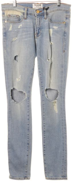 FRAME Blue Nowita Distressed Mid-Rise Light Wash Skinny Jeans