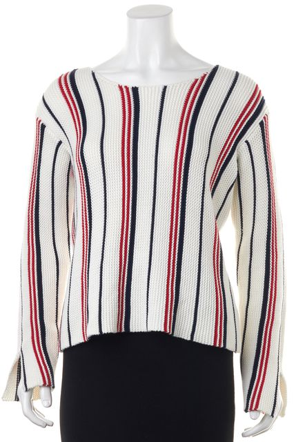 FRAME White Red Navy Striped Crewneck Sweater