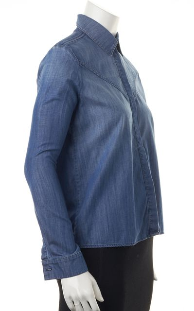 FRAME Blue Cotton Long Sleeve Denim Button Down Shirt