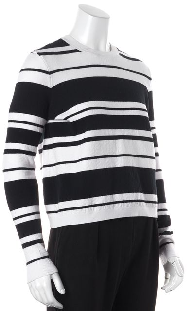 FRAME White Navy Sculpture Striped Long Sleeve Crewneck Sweater