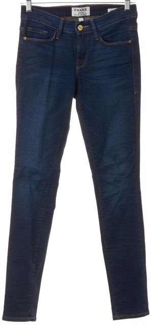 FRAME Blue Stretch Cotton Mid-Rise Columbia Road Skinny Jeans