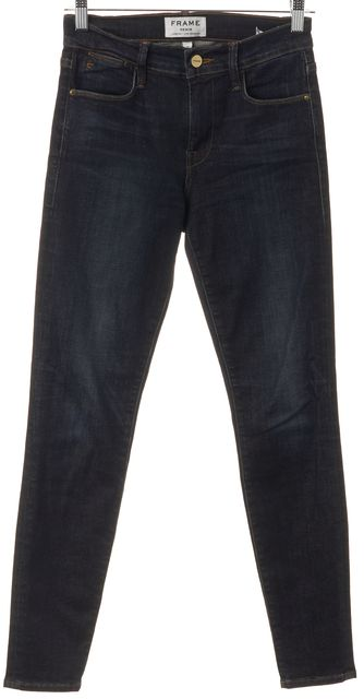 FRAME Blue Stretch Cotton Harvard High-Rise Skinny Jeans