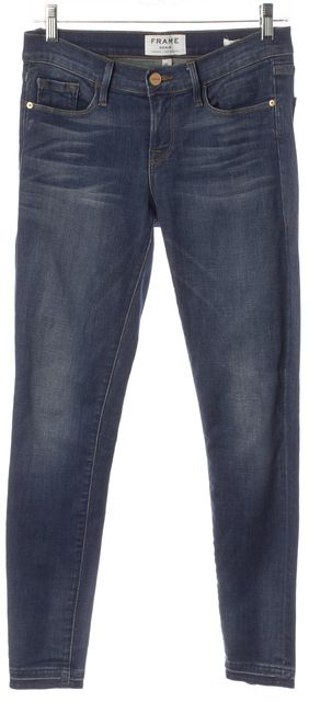 FRAME Blue Edenvale Stretch Cotton Mid-Rise Skinny Jeans