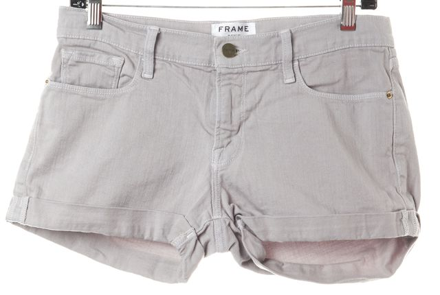 FRAME Gray Putty Cotton Cuffed Le Cutoff Denim Shorts
