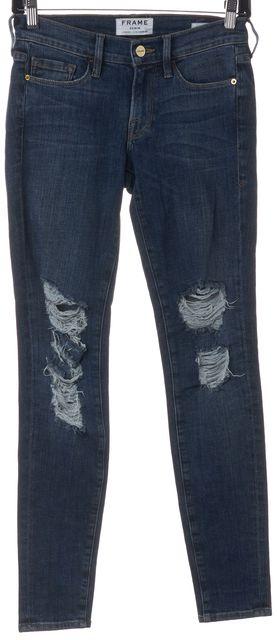 FRAME Blue Distressed Mid-Rise Seville Skinny Jeans