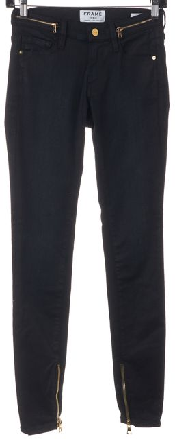 FRAME Black Stretch Cotton Carter Ankle Zip Skinny Jeans