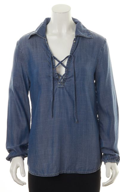 FRAME Blue Relaxed Fit Lace Up Chambray Blouse Top
