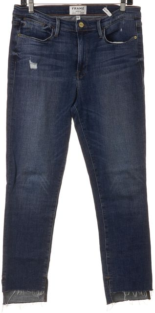 FRAME Blue Distressed Hem Caroll High Rise Cropped Straight Leg Jeans