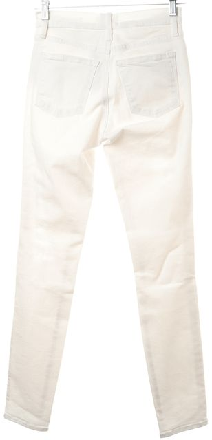 FRAME Winter White Stretch Cotton Distressed Skinny Jeans