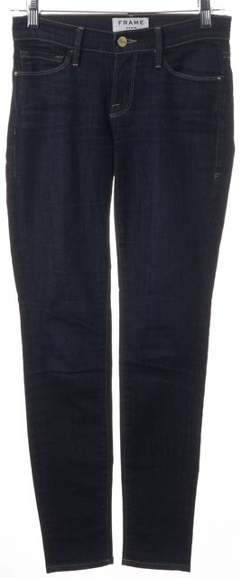 FRAME Queens Way Blue Stretch Cotton Dark Wash Skinny Jeans