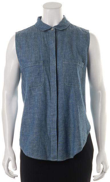 FRAME Blue Chambray Linen Sleeveless Button Down Shirt Top