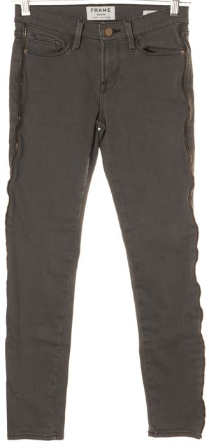 FRAME Gray Zippered Side Trim Thatcher Cropped Skinny Jeans