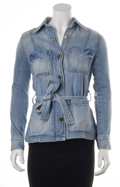 FRAME Blue Belt Wrap 4 Pocket Button Down Jean Jacket