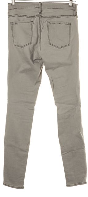 FRAME Rip Gray Distressed Stretch Cotton Mid-Rise Skinny Jeans