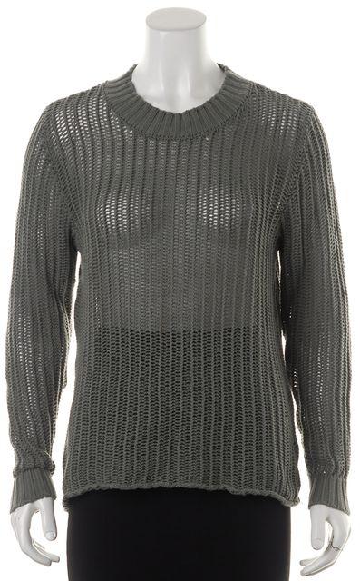 FRAME Light Olive Green Cotton Open Knit Long Sleeve Crewneck Sweater