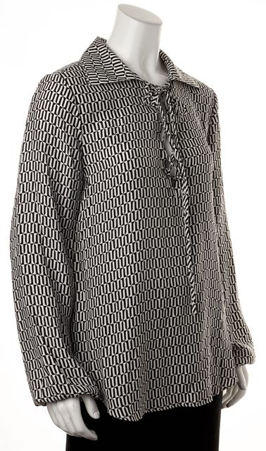 FRAME Black White Geometric Silk Blouse Top