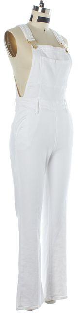 FRAME White Stretch Cotton Denim Overalls Jumpsuit