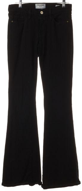 FRAME Forever Karlie Black Film Noire Denim Bell Bottom Flare Leg Jeans
