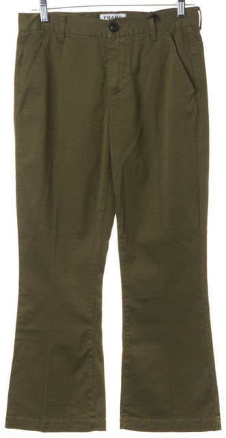 FRAME Olive Green Le Crop Mini Boot Capris, Cropped Pants