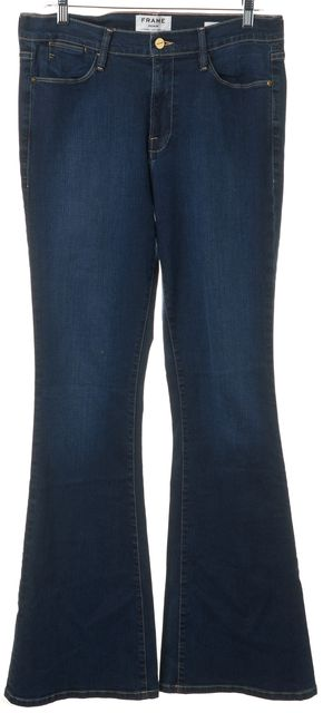 FRAME Blue Benedict Canyon High Waist Flare Jeans