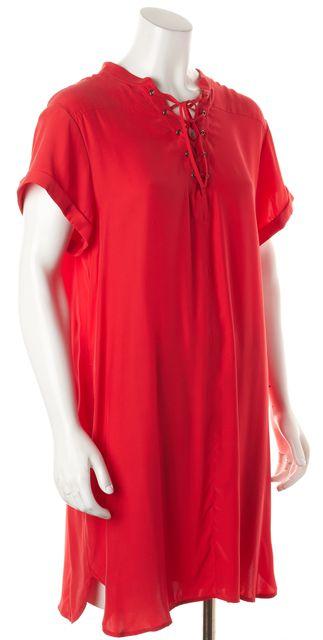 FRAME Red Short Sleeve Knee-Length Silk Shift Dress