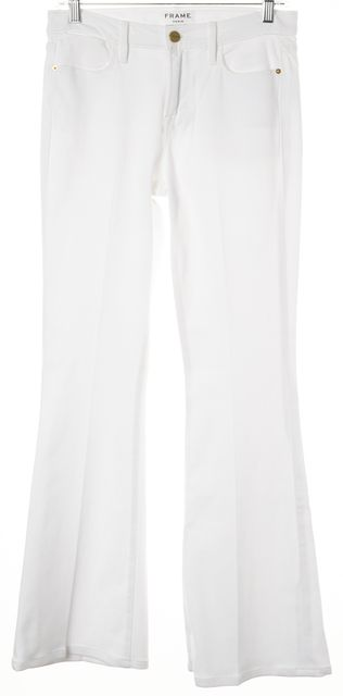 FRAME White Blanc Le High Waist Flare Jeans