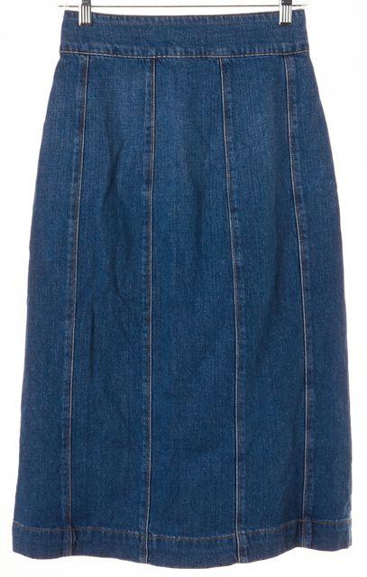 FRAME Blue Denim Button Down Below Knee A-Line Skirt