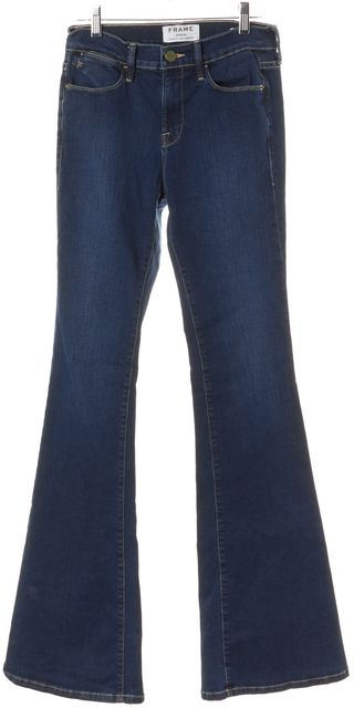 FRAME Blue Benedict Canyon Mid-Rise Le High Flare Jeans