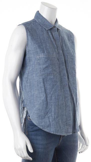 FRAME Blue Denim Linen Sleeveless Button Down Shirt Top