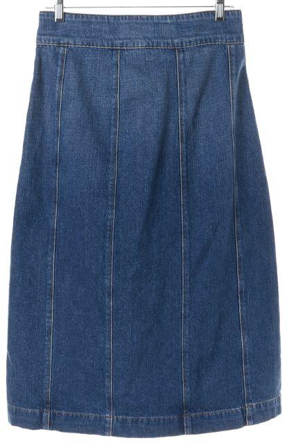 FRAME Blue Skylark Le Panel Denim Button Down Midi A-Line Skirt