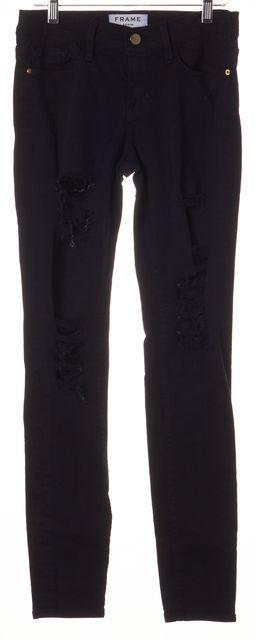 FRAME Black Distressed Le Skinny De Jeanne Skinny Jeans