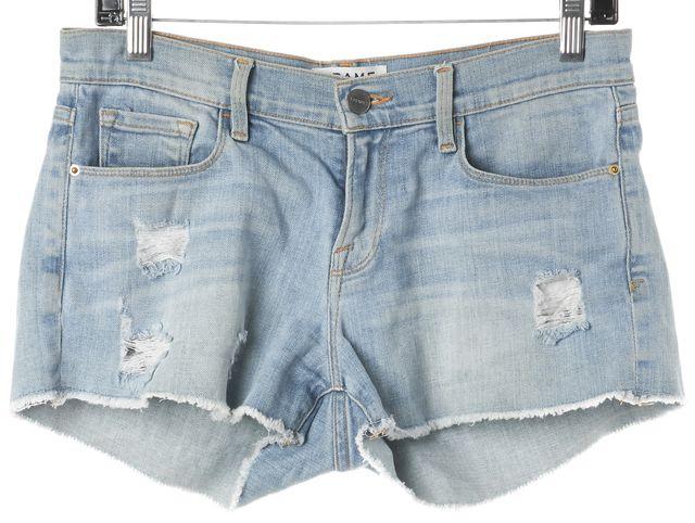 FRAME Light Blue Wash Distressed Denim Short Shorts