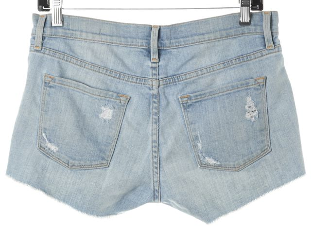 FRAME Light Blue Wash Distressed Denim Short Shorts
