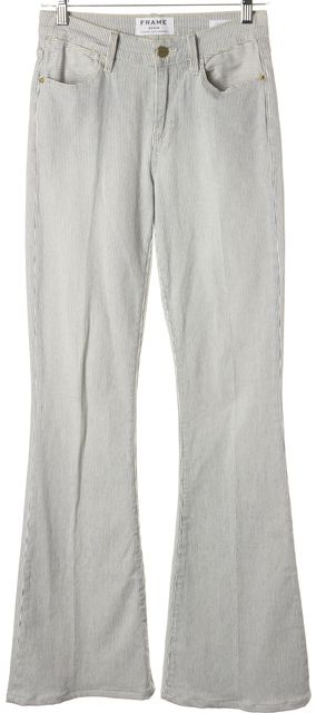 FRAME San Simion White Blue Stretch Cotton Le High Flare Jeans