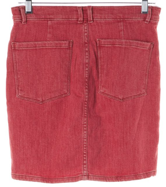 FRAME Crimson Red Stretch Cotton Denim Straight Skirt