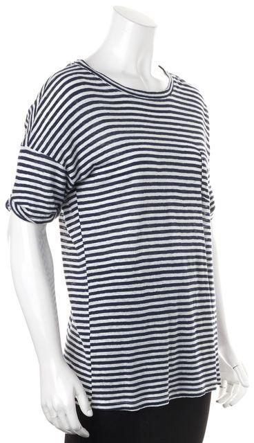 FRAME Blue White Striped Linen T-Shirt